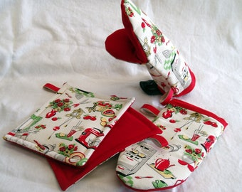 Oven mitt or pot holder -50's Kitchen - adult size -  either hand