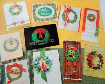 Wreaths Set the Tone of the Holidays in Vintage Christmas Card Lot No 900 Total of 10