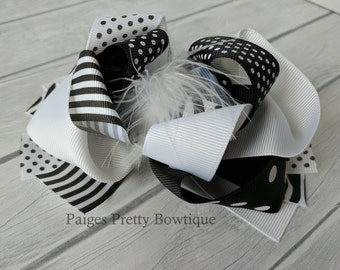 """5.5-6"""" White and Black Polka Dot/Stripe Funky Hair Bow-Over The Top Bow"""