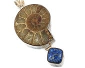 Ammonite Pendant, Blue Lapis, Sterling Silver, Fossil, Big Statement, Stones, Large, Natural, Organic, Fossilized, Brown, InVintageHeaven