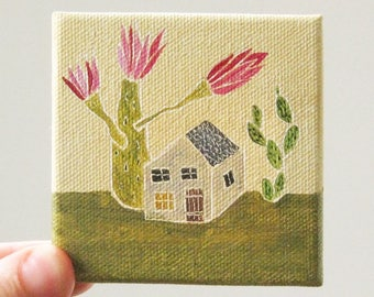 cactus house / original painting on canvas