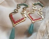 Clearance SALE Turkish Scroll  drop earrings wrapped in swarovki crystal - bronze and gold fill