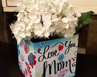 Love you Mom Patterned Personalized FLOWER BOX GM0025