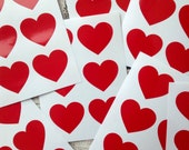 24 large Red heart stickers, Red heart decals, Red heart envelope seals, for packaging, gift wrapping or wedding invitations