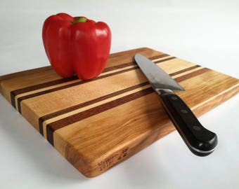 RECLAIMED mixed Hardwoods CUTTING BOARD Cherry, Sapele, Maple and Black Walnut