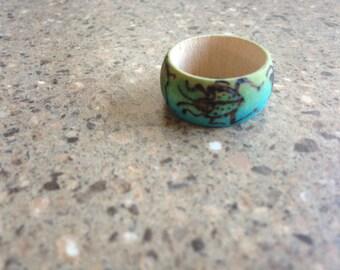 Aqua Beetle Wooden Ring