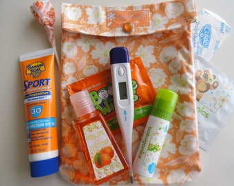 Orange Buttercup Ouch Pouch Clear Front Pocket Organizer First Aid Cosmetics Medications Purse Baby Diaper Bag Supplies 5x7 Medium