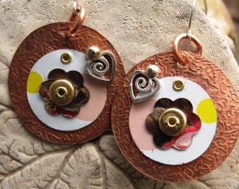 Upcycled tin and copper dangle mixed metal  earrings with charm
