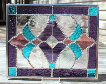 Stained Glass Panel in Purple, Aqua Blue and Pale Purple