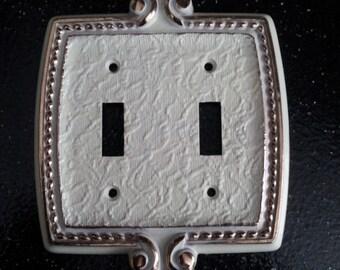 Vintage Fleur De Lis  ORNATE 2 Toggle  Switch Plate