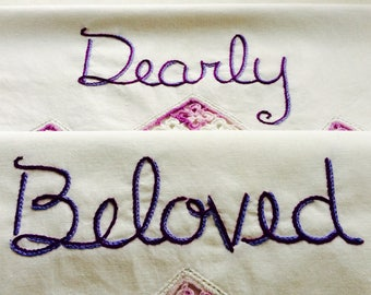 Dearly Beloved, Pillowcases, Prince, Hand embroidered, Boho bedroom, Vintage decor, Couples gift, Wedding gift, Purple decor
