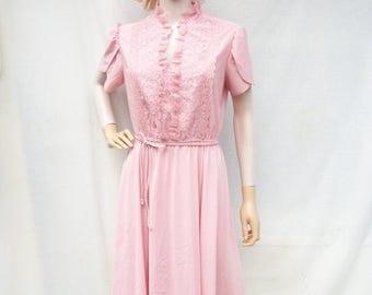 ON SALE 80s Lace Bodice Dress size Medium Jane Baar Romatic Tulip Sleeves