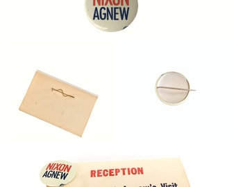 Vintage - Nixon-Agnew -Campaign 1970 Collectible Pinback Reception Identification Tag 236