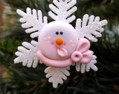 Snowman Christmas Ornament, Snowflake Christmas Ornament, Holiday Ornament, Package Decoration, Whimsical, The Critter Company, Light Pink