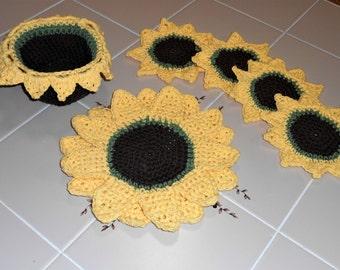 Sunflower Crochet Decor Pattern Centerpiece Trivet Mug Rugs Basket Country Home