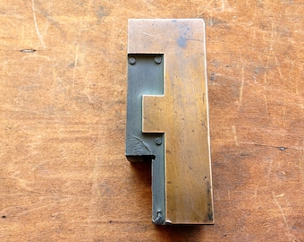 Antique Copper on wood Printers Block - Letter F