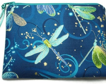 Padded Zipper Cosmetic Pouch in Moonlit Flight Dragonfly Print