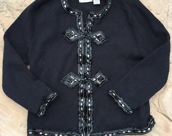 The Vintage Bejeweled Gem Black Zip Up Sweater Cardigan