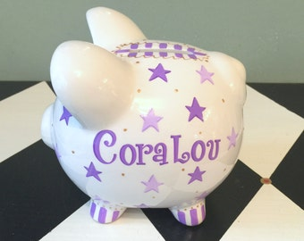 Purple and Lavender Stars Piggy Bank Personalized Hand Painted Size Small