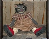 Primitive folk art large black raggedy doll Rootie Tootie faap HAFAIR ofg appliqued embroidered red shoes