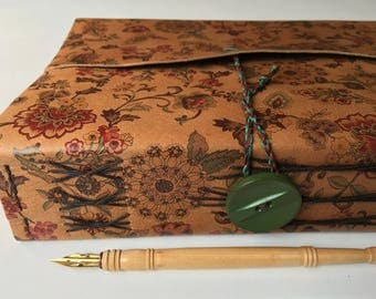 watercolor sketchbook with floral leather, mixed fine art papers for art and writing, XL leather wrap journal
