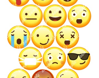 "Emoji Edible Images Wafer Paper or Sugar Sheet for Cookies, Cupcakes, Cakes 2"" Circles"