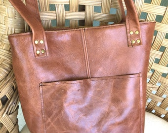 Introductory Price! Caramel Brown Distressed Leather Tote Purse with pockets outside and inside Carmel leather bag handmade leather tote