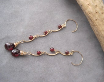 Garnet Earrings - Garnet Dangle Earrings - Birthstone Jewelry - January Birthstone - Garnet Birthstone - Gold and Garnet Earrings