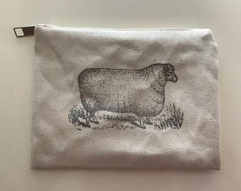 Vintage Sheep Canvas Zippered Knitting Notions Bag- DURABLE, Sturdy, Vintage Look! Color Natural