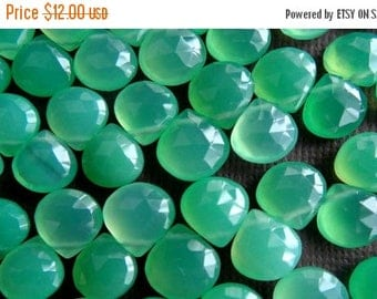 SALE Chrysoprase Chalcedony faceted heart briolette