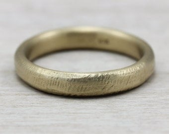 4mm hand hewn womens wedding band gold or palladium recycled eco - Eco Friendly Wedding Rings