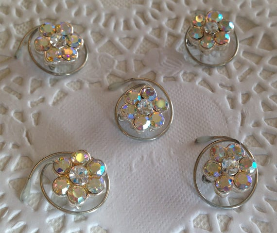 Flower Hair Swirls Swarovski Clear AB Rainbow Finish Hair Spins Wedding Hair Coils Bridesmaids