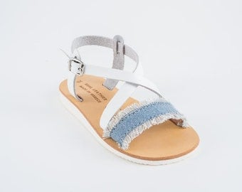 "Sandals for kids / Baby sandals/ Natural Greek Leather sandals / Slingback Slides/Strap Sandals - ""Blue Belle"""