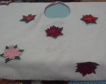 White Wool Tree Skirt With Poinsettia Flowers All Around