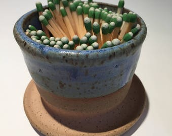 """Ceramic Match Striker """"Strike it Up"""" Striker In Weathered Blue/Green  Stock Ready to Ship Today Fireplace accessory"""