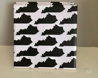 White and Black Kentucky Ceramic Tile Coasters