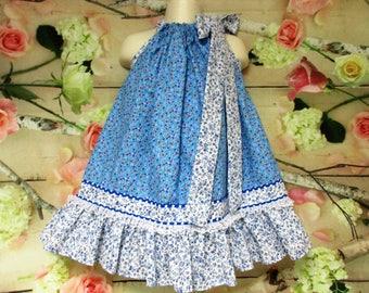 Girl Dress 2T/3T Blue White Flower Pillowcase Dress, Pillow Case Dress, Sundress