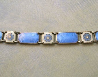 Vintage Sterling Enamel David Andersen Modernistic Bracelet, Sterling Norway Enamel Bracelet (#3137)
