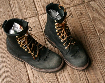 Vintage Leather Work Boots For Men Black US Mens Size 8M Vintage From Nowvintage on Etsy