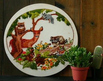 Vintage Wildlife Embroidery Wall Hanging Bohemian Decor 1960s Deer Raccoon Owl  From Nowvintage on Etsy