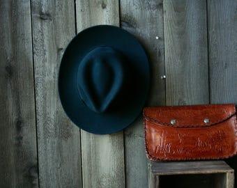 Felted Wool Fedora Womens Hat Black Dark Blue Medium Size Vintage From Nowvintage on Etsy
