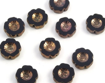 Hibiscus Flowers 14mm Jet Black with Gold Bronze Czech Glass Beads - 10