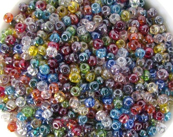 Czech Glass Seed Bead Multi Colored Luster Size 6/0 gsb0007 (10 grams)