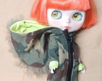 Army Green Camouflage Camo Hooded Jacket Mohawk Fur Fohawk for Blythe Doll