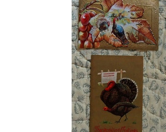Set Of 2 Antique Thanksgiving Postcards - Original Vintage Turkey Day Postcards - Paper Ephemera - FREE Shipping In USA