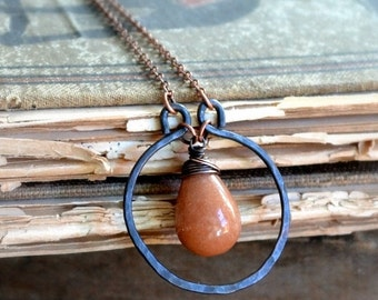 ON SALE 20% OFF Wire wrapped copper necklace, caramel colored stone, hammered copper - Caramel Crush