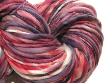 HALF OFF SALE Handspun Yarn Broken Hearted 154 yards hand dyed merino wool red yarn purple yarn knitting supplies crochet supplies