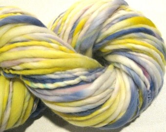 Handspun Yarn, Delightful 104 yards, hand dyed merino wool, periwinkle yarn, blue yarn, yellow waldorf doll hair, knitting supplies,crochet