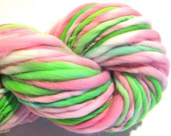 Bulky Handspun Yarn Tulip Time 102 yards hand dyed wool pink yarn green yarn spring waldorf doll hair knitting supplies crochet supplies