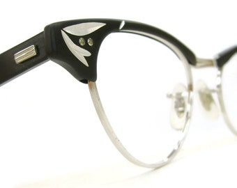 Vintage 50s Cat Eye Combination Eyeglasses Sunglasses Frame US Optical NOS 12 Kt Gf